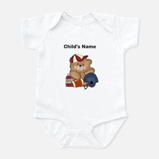 Personalized Football Teddy Bear Baby Bodysuit