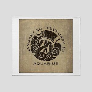 Vintage Aquarius Throw Blanket