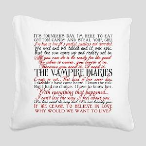 Vampire Diaries Quotes Square Canvas Pillow