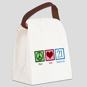 Peace Love 21 Canvas Lunch Bag
