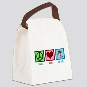 Peace Love Pit Bull Canvas Lunch Bag