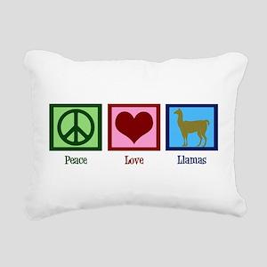 Peace Love Llamas Rectangular Canvas Pillow