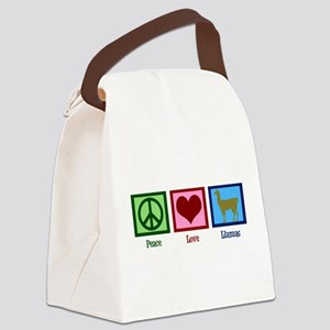 Peace Love Llamas Canvas Lunch Bag