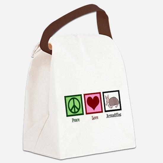 Peace Love Armadillos Canvas Lunch Bag