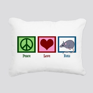 Peace Love Rats Rectangular Canvas Pillow