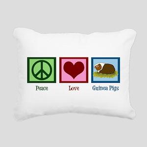 Peace Love Guinea Pigs Rectangular Canvas Pillow