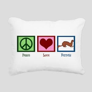 Peace Love Ferrets Rectangular Canvas Pillow