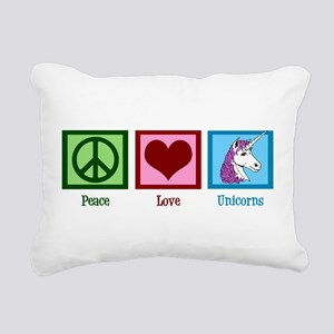 Peace Love Unicorns Rectangular Canvas Pillow