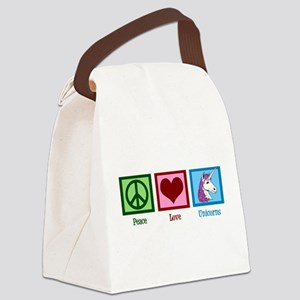 Peace Love Unicorns Canvas Lunch Bag