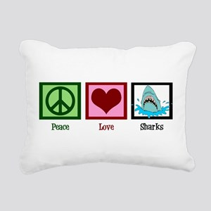 Peace Love Sharks Rectangular Canvas Pillow