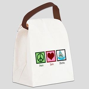 Peace Love Sharks Canvas Lunch Bag