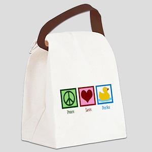 Peace Love Ducks Canvas Lunch Bag