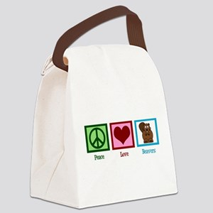 Peace Love Beavers Canvas Lunch Bag