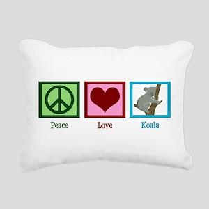 Peace Love Koala Rectangular Canvas Pillow