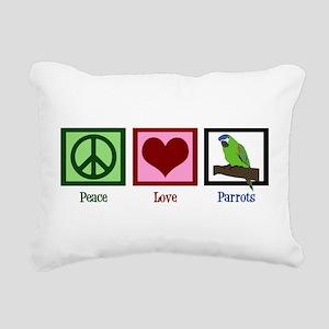 Peace Love Parrots Rectangular Canvas Pillow