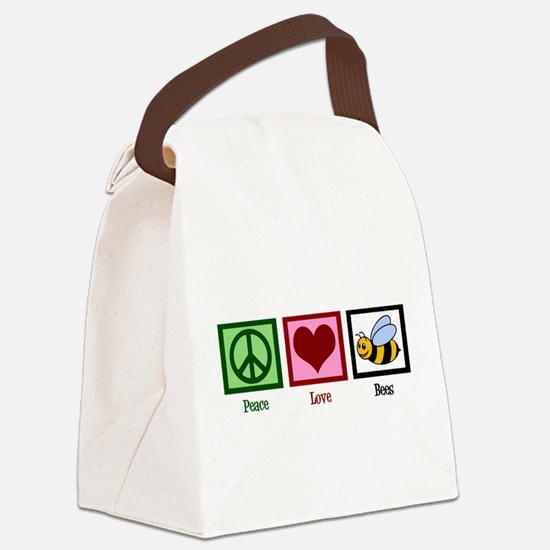 Peace Love Bees Canvas Lunch Bag