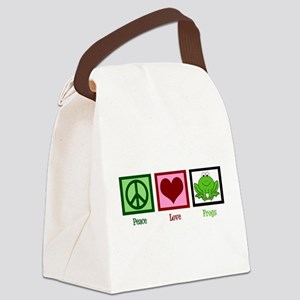 Peace Love Frogs Canvas Lunch Bag