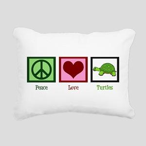 Peace Love Turtles Rectangular Canvas Pillow