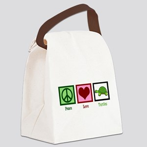 Peace Love Turtles Canvas Lunch Bag