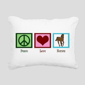 Peace Love Horses Rectangular Canvas Pillow