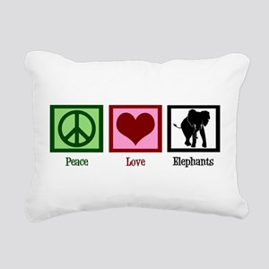 Peace Love Elephants Rectangular Canvas Pillow