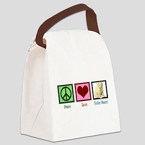 Peace Love Polar Bears Canvas Lunch Bag