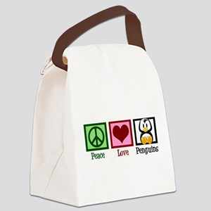 Peace Love Penguins Canvas Lunch Bag