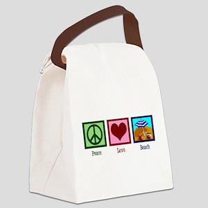 Peace Love Beach Canvas Lunch Bag