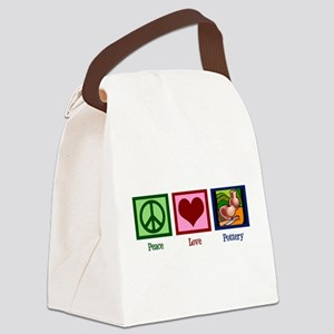 Peace Love Pottery Canvas Lunch Bag