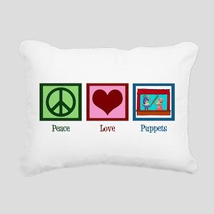 Peace Love Puppets Rectangular Canvas Pillow