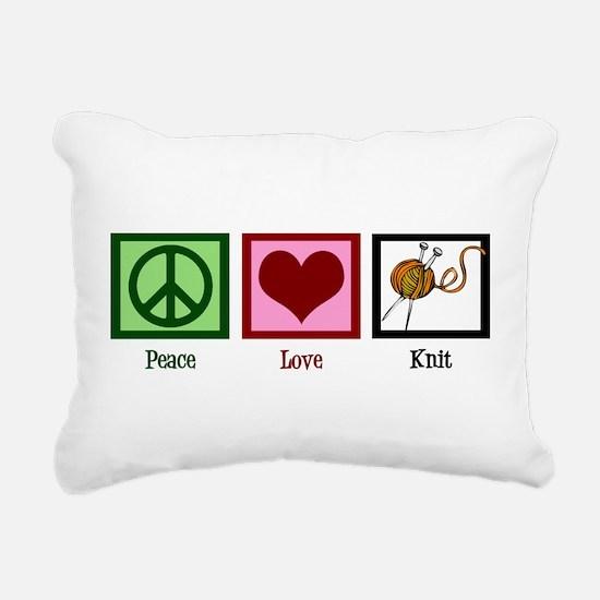 Peace Love Knit Rectangular Canvas Pillow