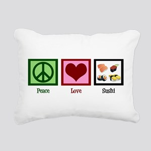 Peace Love Sushi Rectangular Canvas Pillow