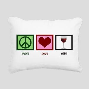 Peace Love Wine Rectangular Canvas Pillow