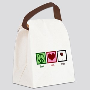 Peace Love Wine Canvas Lunch Bag