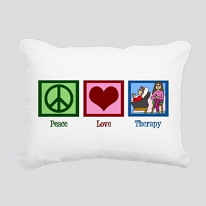 Peace Love Therapy Rectangular Canvas Pillow