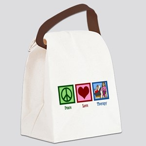 Peace Love Therapy Canvas Lunch Bag
