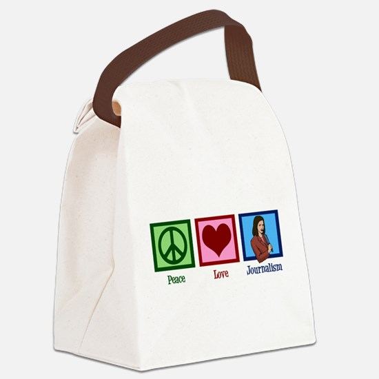 Peace Love Journalism Canvas Lunch Bag