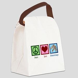 Peace Love Paleontology Canvas Lunch Bag
