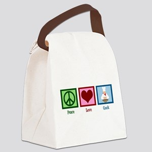 Peace Love Cook Canvas Lunch Bag