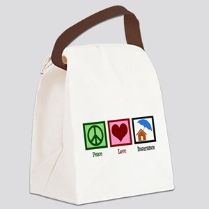 Peace Love Insurance Canvas Lunch Bag