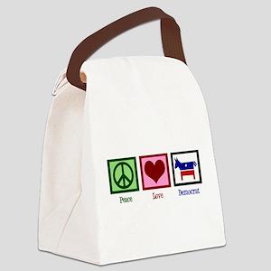 Peace Love Democrat Canvas Lunch Bag