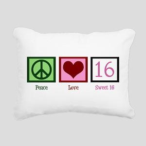 Peace Love Sweet 16 Rectangular Canvas Pillow