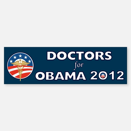 Doctors For Obama With Caduceus Sticker (Bumper)