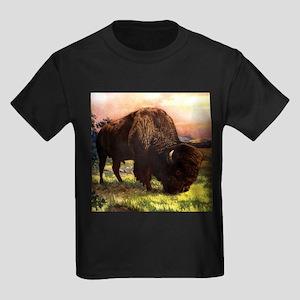 Vintage Bison Painting Kids Dark T-Shirt