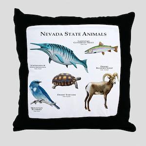 Nevada State Animals Throw Pillow