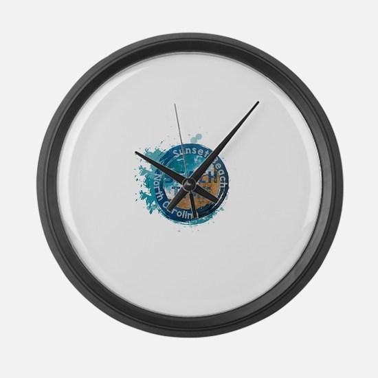 North Carolina - Sunset Beach Large Wall Clock