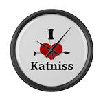 I Heart Katniss Large Wall Clock