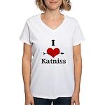 I Heart Katniss Women's V-Neck T-Shirt