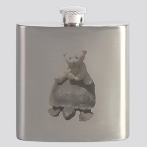 Toy stuffed bear riding a real turttle Flask