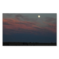 Prairie Moon With Clouds Sticker (Rectangle 50 pk)